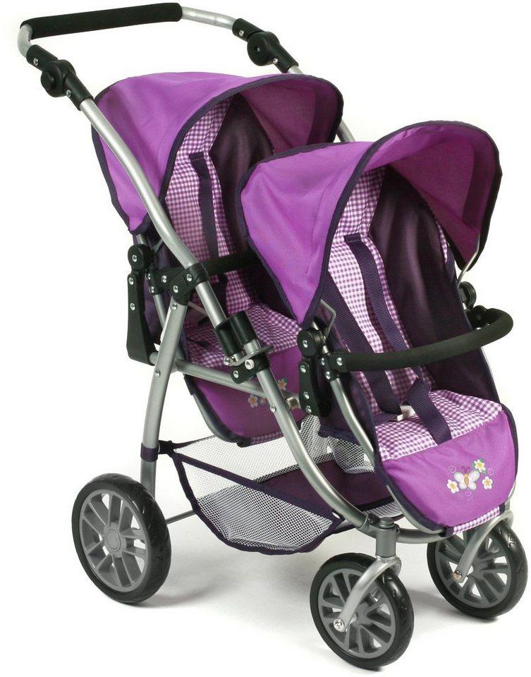 CHIC2000 Puppen Tandembuggy mit schwenkbaren Vorderrädern, »VARIO Purple« in purple