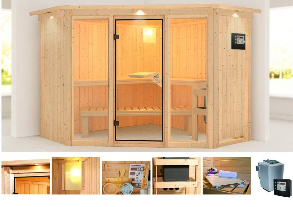 karibu systemsauna flora 2 231 231 198 cm 9 kw bio. Black Bedroom Furniture Sets. Home Design Ideas