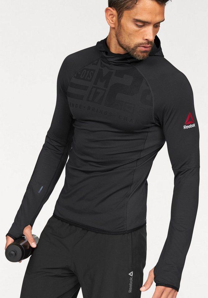 Reebok Langarmshirt »One Series Water Repellent SpeedWick Hoodie« in schwarz