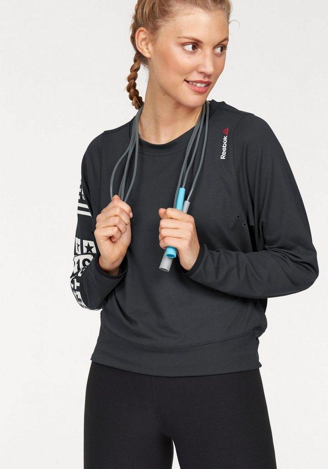Reebok Langarmshirt »Bioknit Novelty Cover-Up« in schwarz