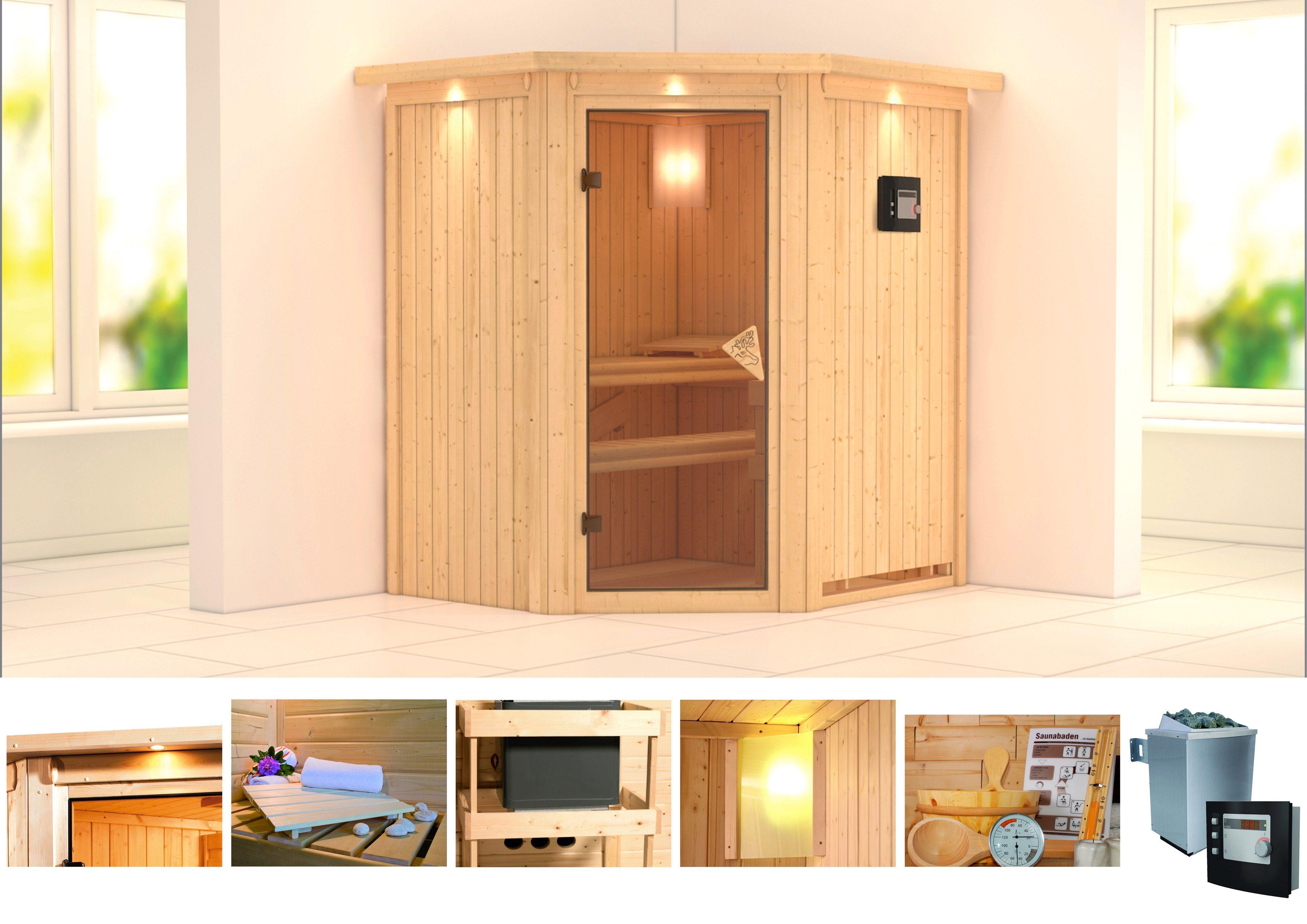 KONIFERA Sauna »Taurin«, 184/165/202 cm, 9-KW-Ofen mit ext. Steuerung