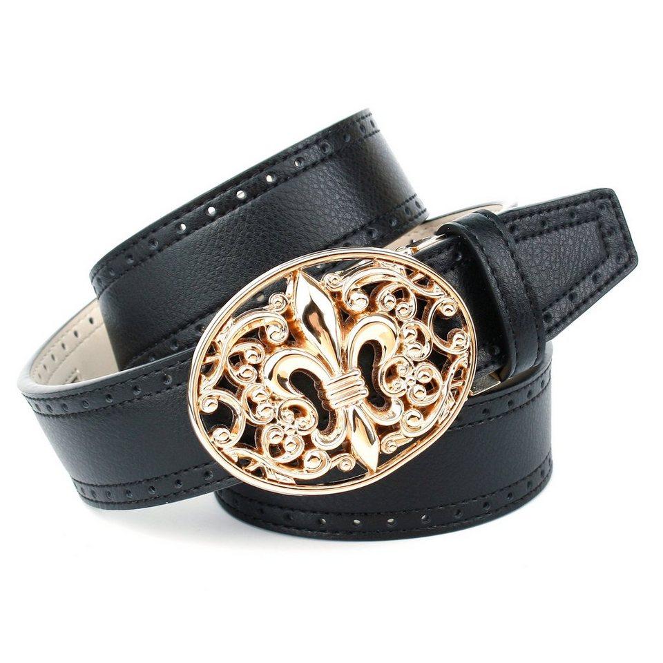 Anthoni Crown Ledergürtel mit Lilie Schließe in Schwarz