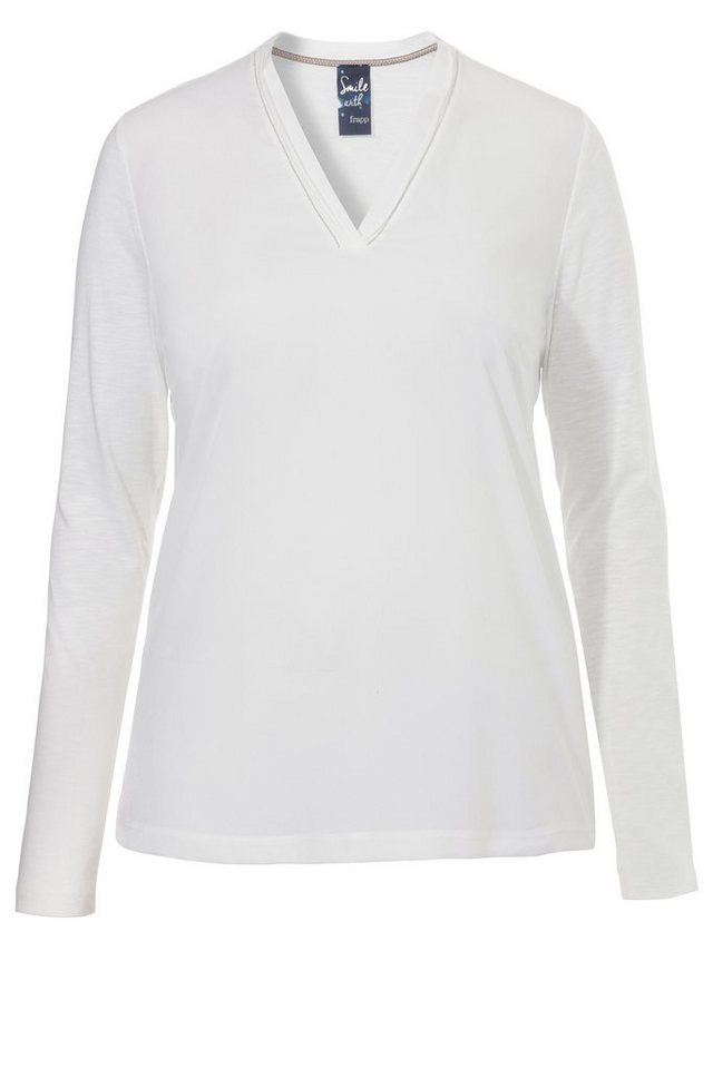 FRAPP Basic Shirt mit Perlen-Detail in OFF WHITE