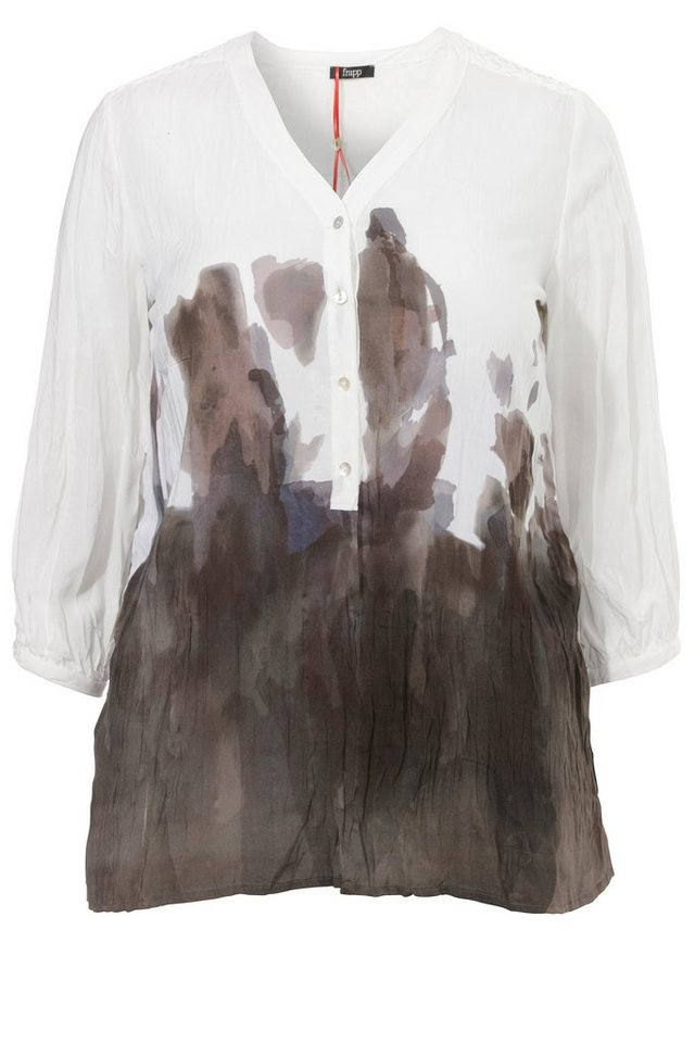 FRAPP Bluse mit Farbklecks-Print in OFF WHITE MULTICOLOR