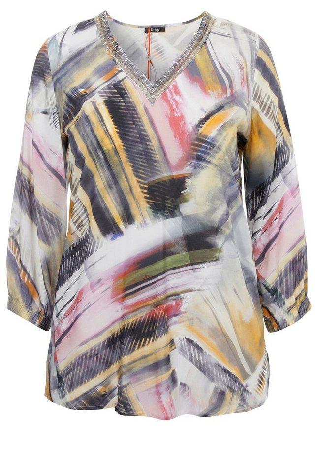 FRAPP Bluse mit Grafik-Print in OFF WHITE MULTICOLOR