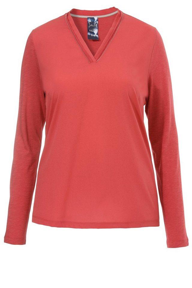 FRAPP Basic Shirt mit Perlen-Detail in RED PEPPER