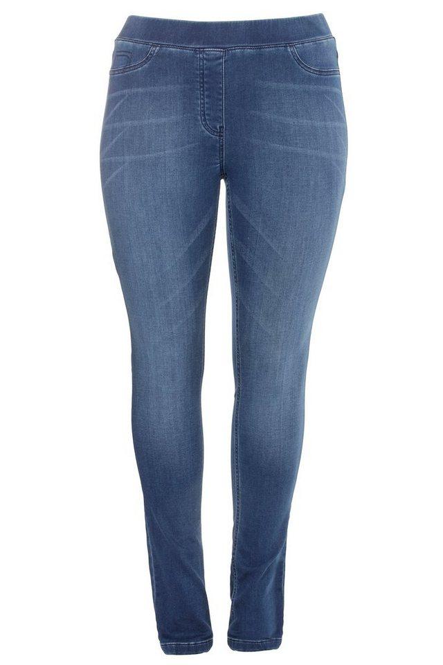 FRAPP Schmale Hose im Jeans-Look in MID DENIM BLUE