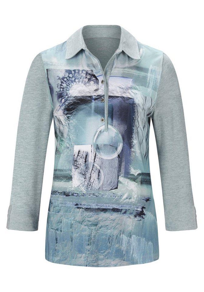 Rabe Shirt mit Print und Polokragen in AQUAMARIN