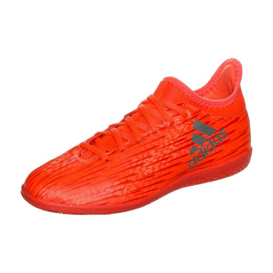 adidas Performance X 16.3 Indoor Fußballschuh Kinder in rot / silber