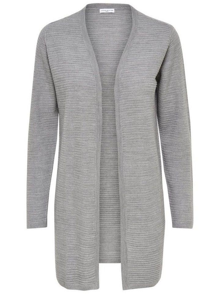 Only Lange Strick-Cardigan in Light Grey Melange