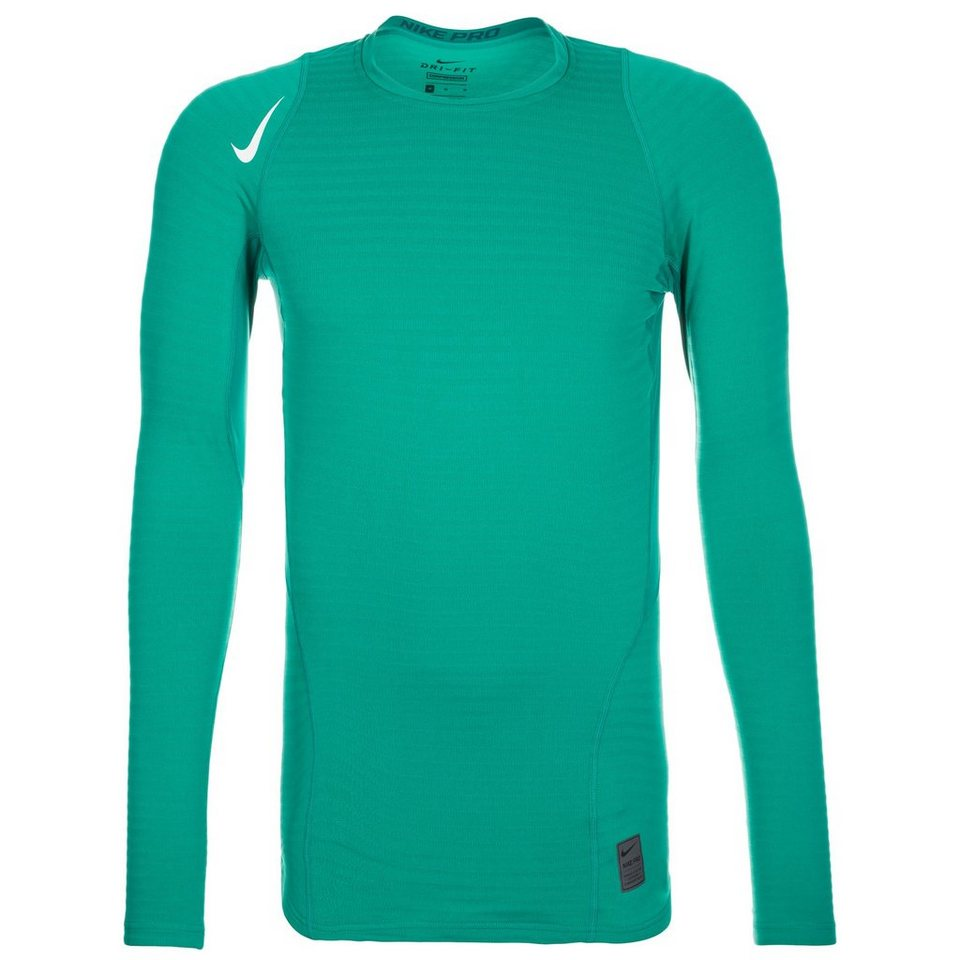 NIKE Pro Warm Compression Crew Trainingsshirt Herren in grün / weiß