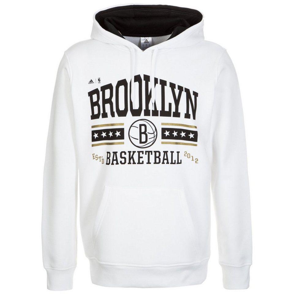 adidas Performance Brooklyn Nets Washed Kapuzenpullover Herren in weiß / schwarz