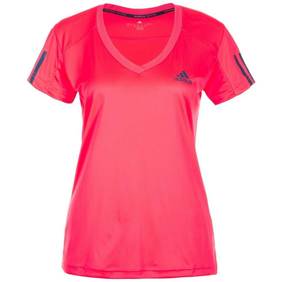adidas Performance Club Tennisshirt Damen in neonrot / dunkelblau