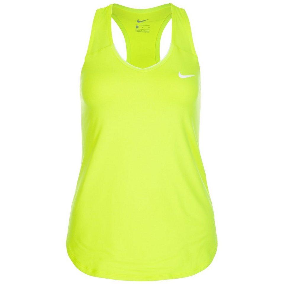 NIKE Pure Tennistank Damen in neongelb / weiß
