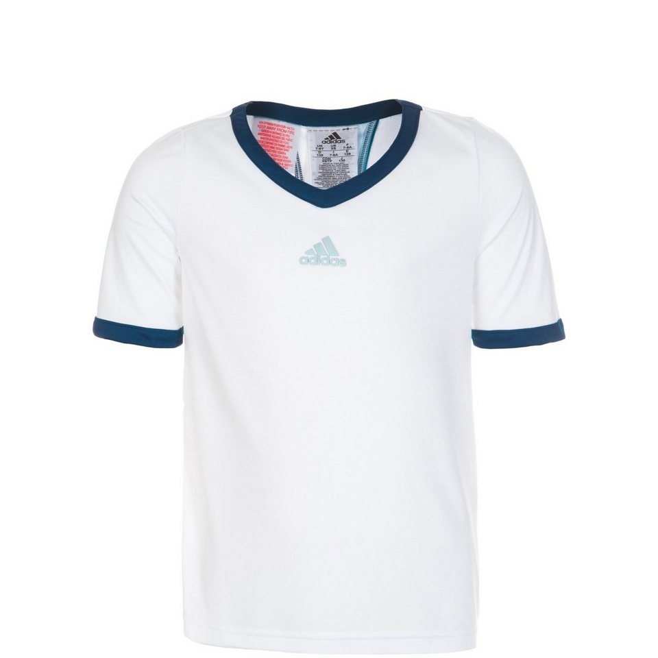 adidas Performance Multifaceted Pro Tennisshirt Kinder in weiß / dunkelblau