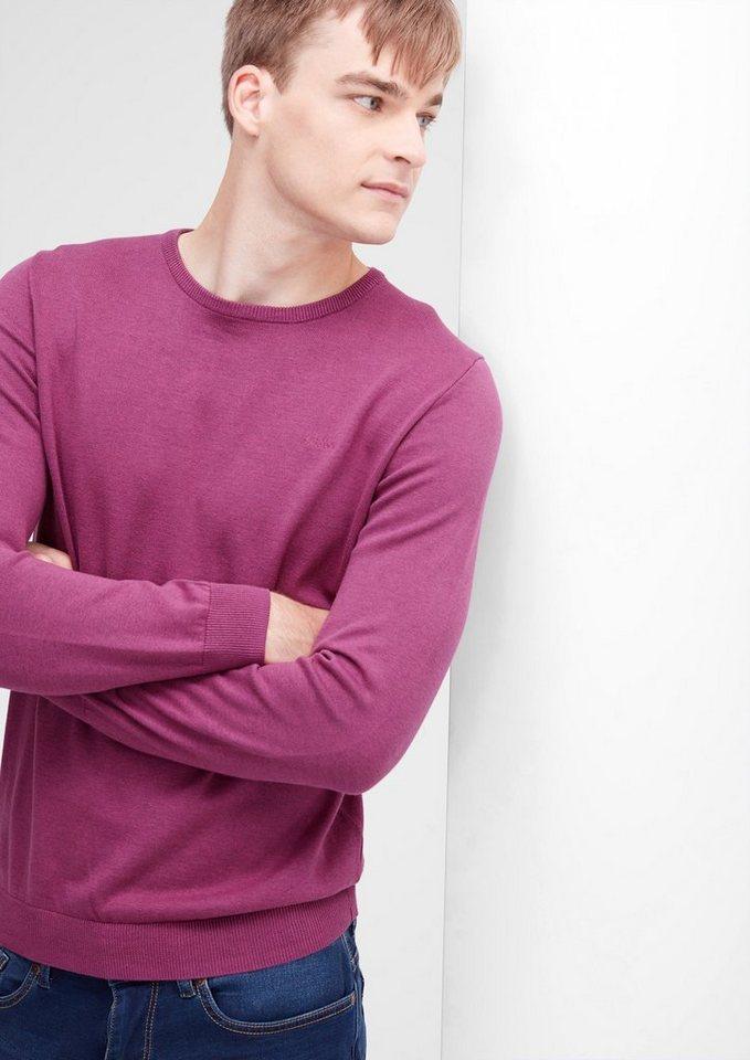 s.Oliver RED LABEL Strickpullover mit Rundhals in purple melange