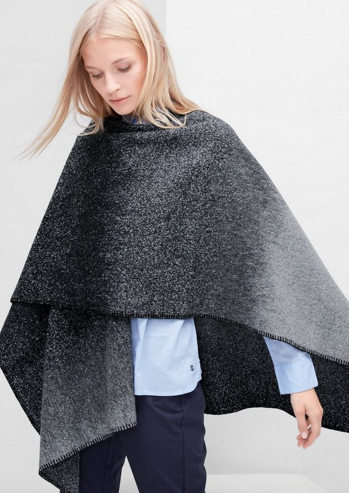 s.Oliver Voluminöser Poncho aus Woll-Mix in pigeon grey