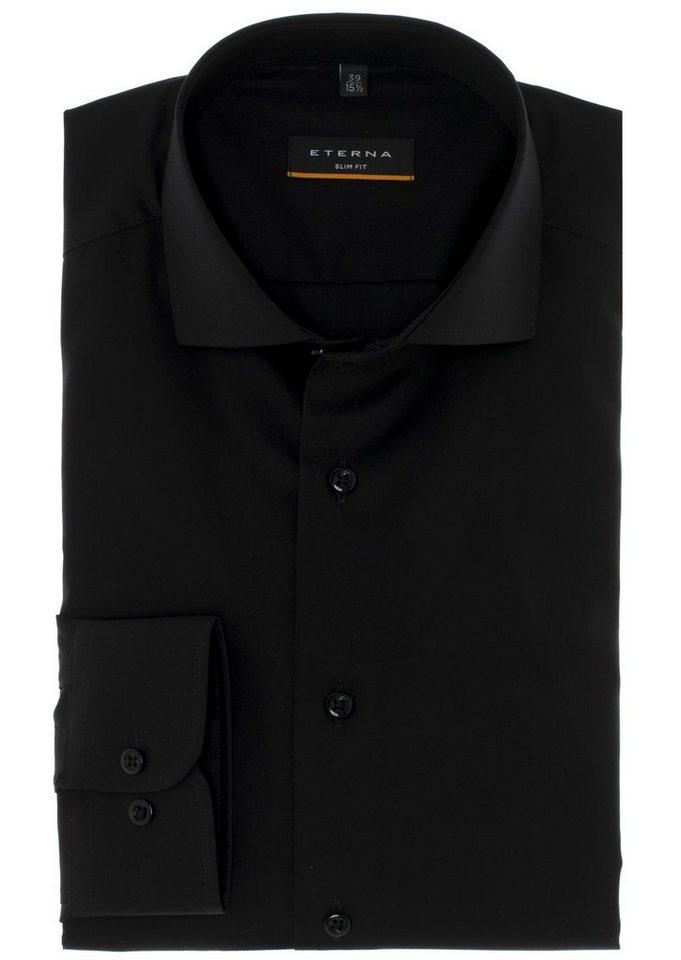ETERNA Langarm Hemd »SLIM FIT« in schwarz/grau