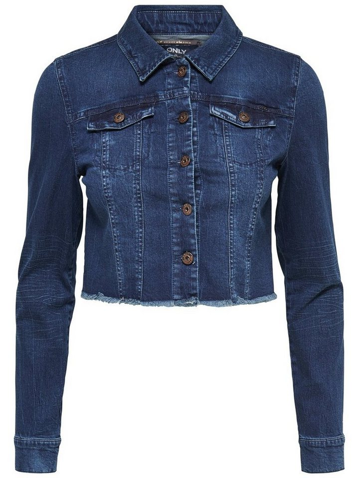 Only Kurz geschnittene Jeansjacke in Dark Blue Denim