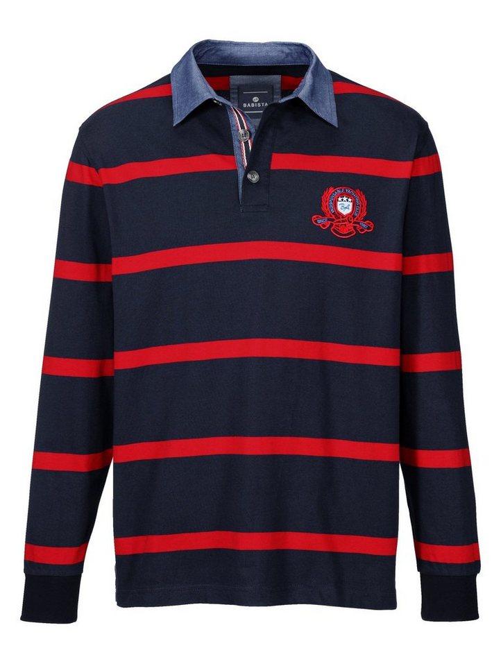 Babista Sweatshirt mit Denim-Hemdkragen in marine-rot