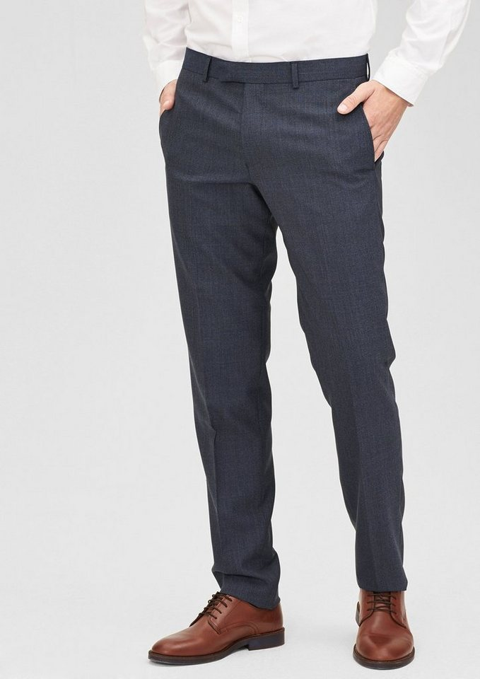 s.Oliver BLACK LABEL Slim:Anzughose aus Schurwoll-Mix in indigo melange