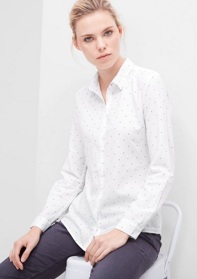 s.Oliver RED LABEL Hemdbluse aus Twill in white dobby
