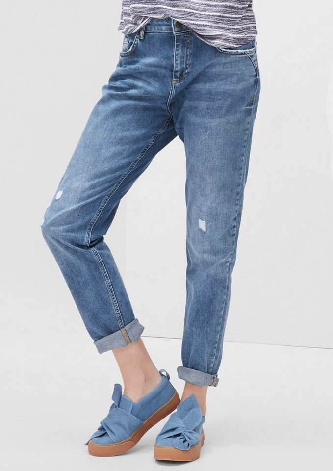s.Oliver RED LABEL Girlfriend Ankle: Used-Jeans in blue denim stretch