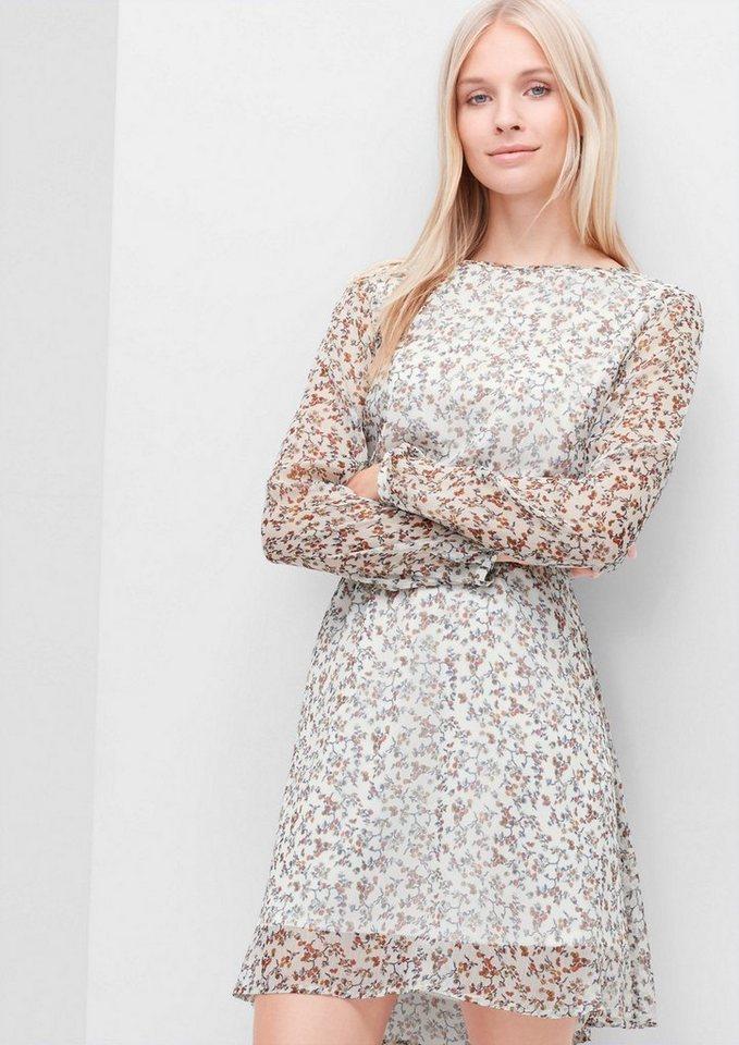 s.Oliver RED LABEL Crêpe-Kleid mit Allover-Print in creme AOP