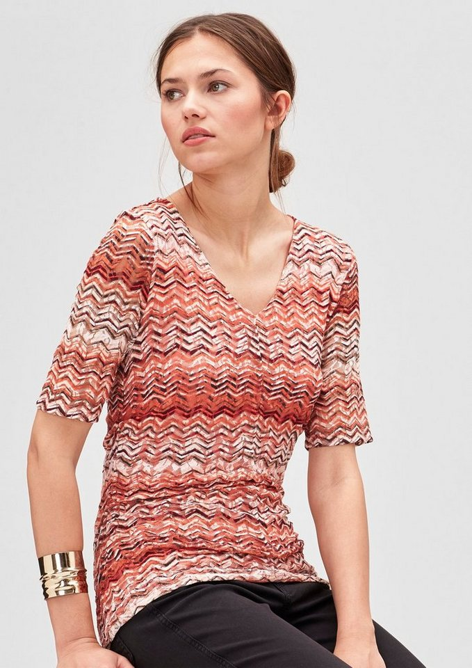 s.Oliver BLACK LABEL Spitzen-Shirt mit Musterprint in orange AOP zig zag