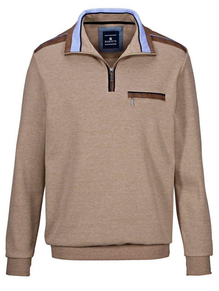 Babista Sweatshirt mit Velours-Besatz in hellbraun