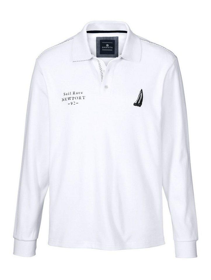 Babista Poloshirt mit Druck und Stickerei in weiß