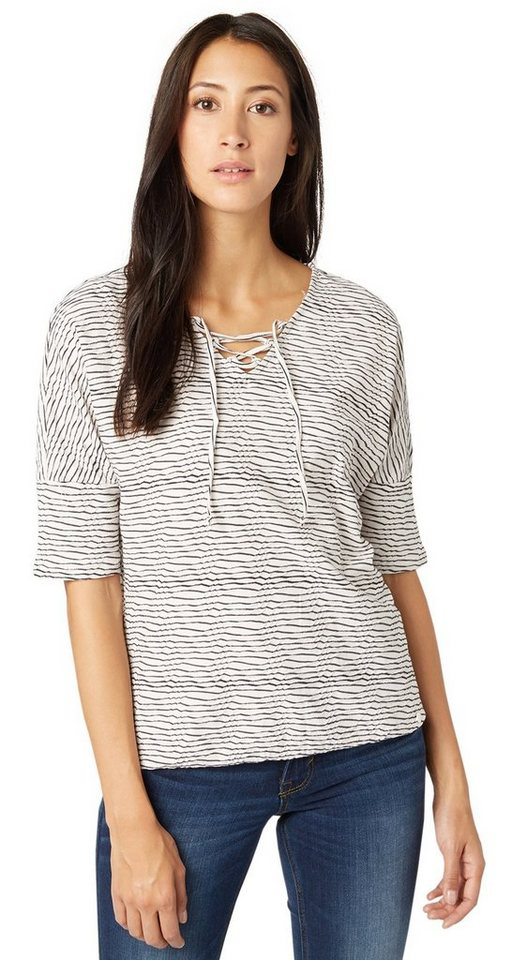TOM TAILOR T-Shirt »verspieltes Streifen-Shirt« in whisper white