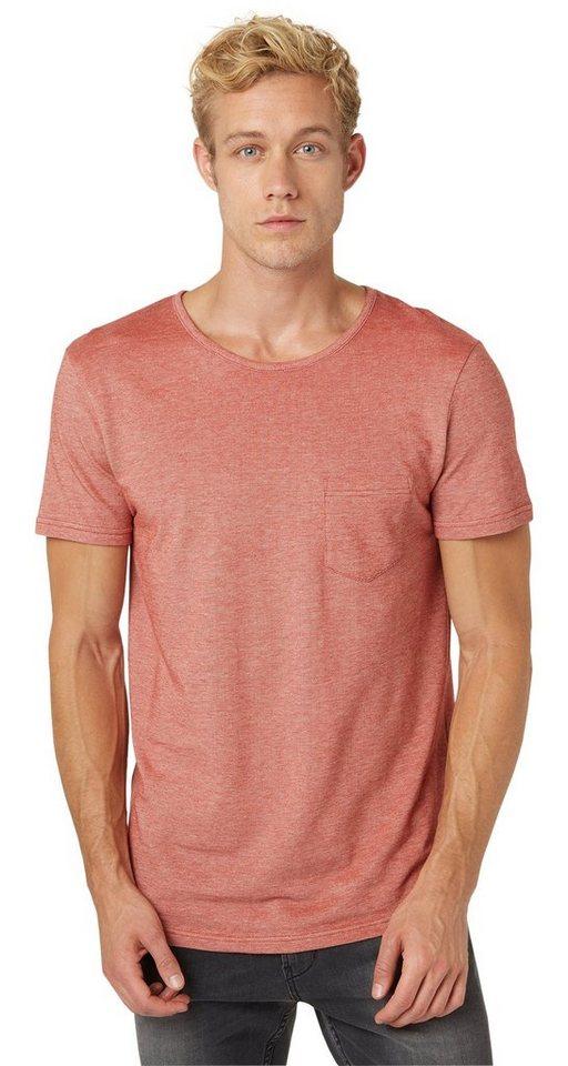 TOM TAILOR DENIM T-Shirt »Piqué-Shirt mit Brusttasche« in burned red slate