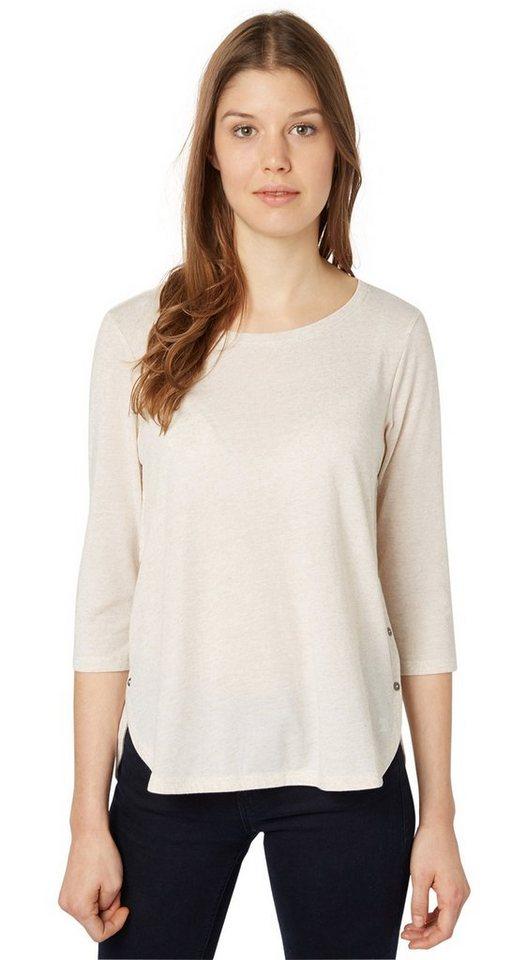 TOM TAILOR DENIM T-Shirt »Shirt mit seitlichen Knopf-Details« in alabaster beige mela