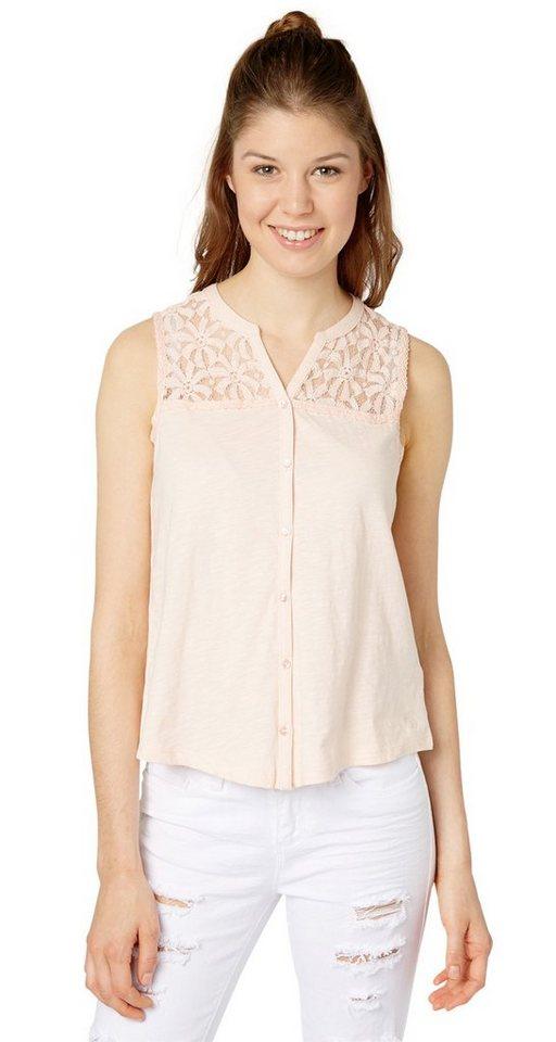 TOM TAILOR DENIM T-Shirt »lace mix shirt« in light peach rose