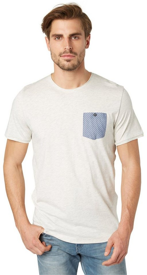 TOM TAILOR T-Shirt »tee with contrast pocket« in offwhite melange
