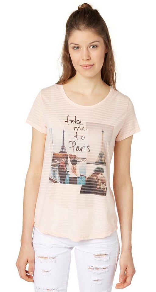TOM TAILOR DENIM T-Shirt »burnout shirt w print« in light peach rose