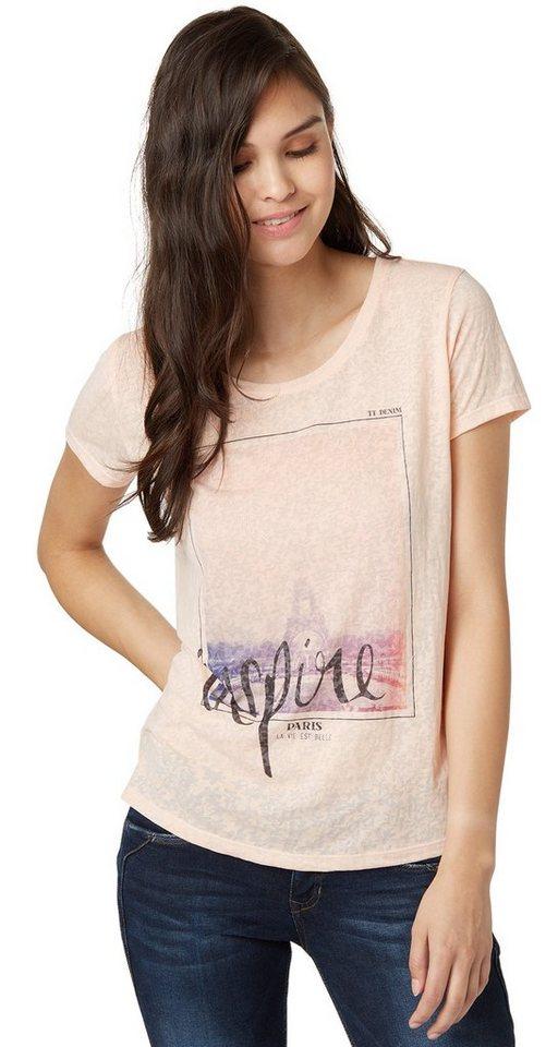 TOM TAILOR DENIM T-Shirt »burnout shirt w. print« in light peach rose