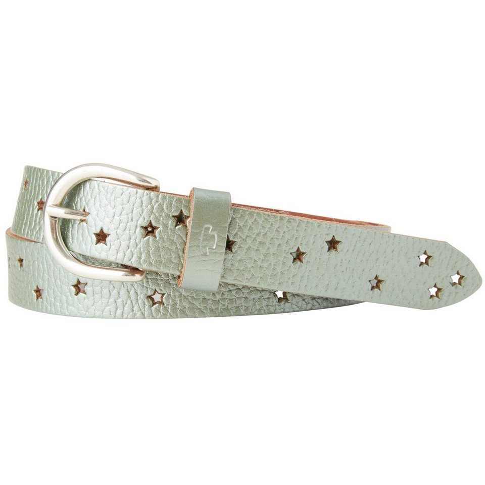 TOM TAILOR Gürtel »leather belt in metallic optic« in pastell green