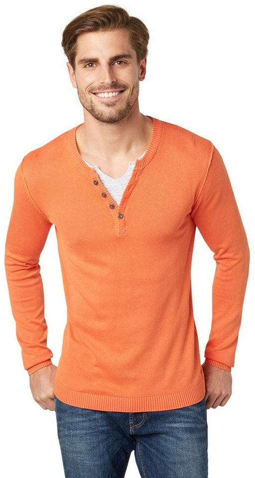 TOM TAILOR Pullover »washed henley with underlayer« in lux coral red