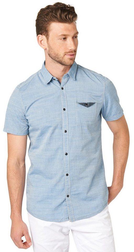 TOM TAILOR Hemd »floyd 2col slub chambray shirt« in dark celeste blue