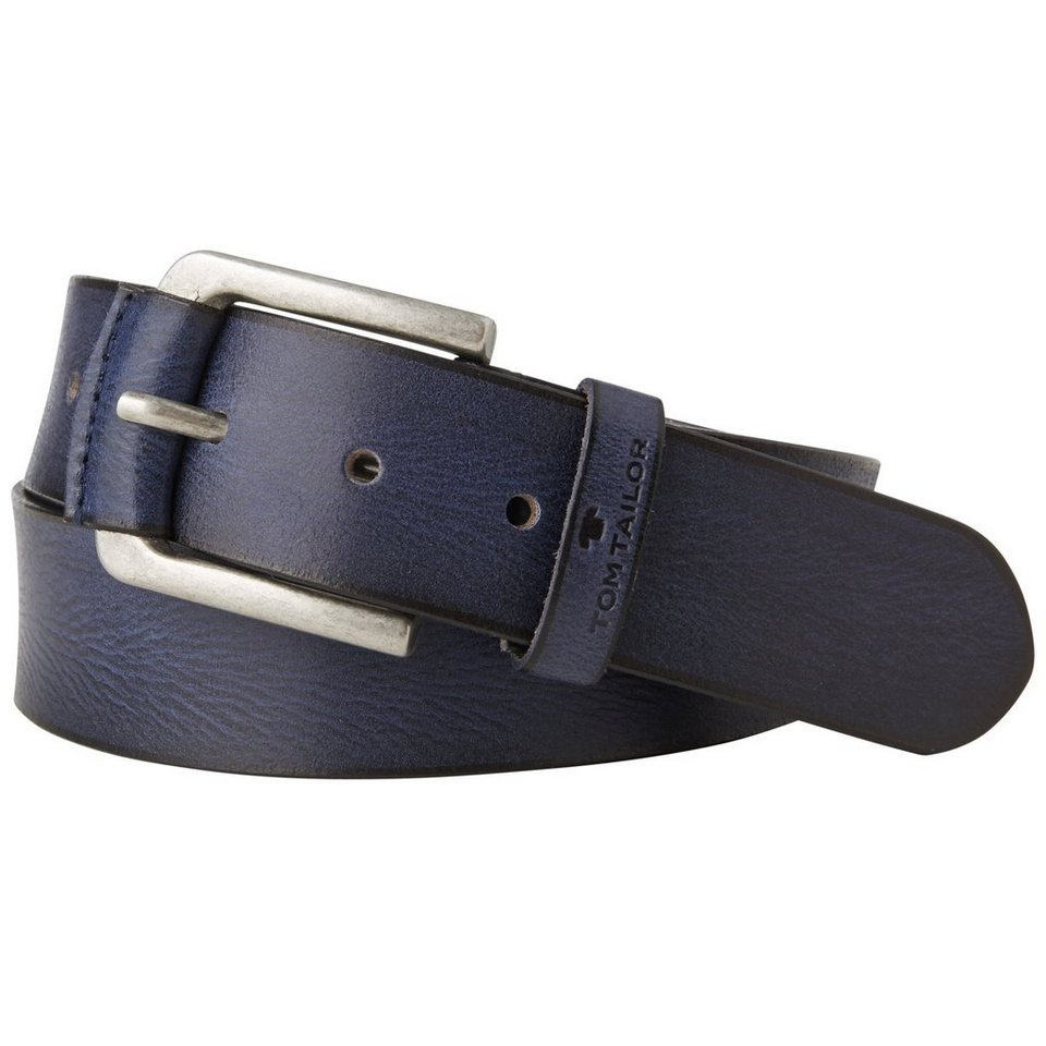 TOM TAILOR Gürtel »leather belt with leather loop on buckle« in navy