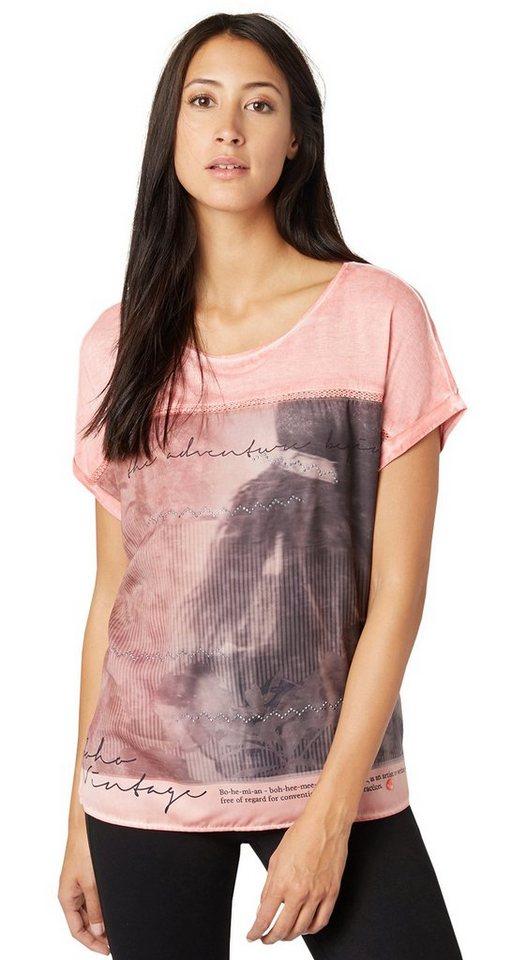 TOM TAILOR T-Shirt »feminines T-Shirt im Material-Mix« in Peach Blush
