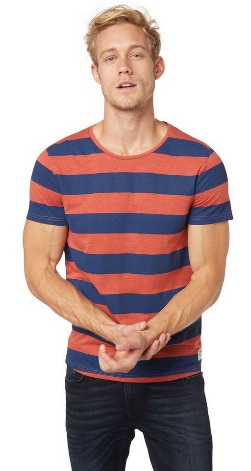 TOM TAILOR DENIM T-Shirt »T-Shirt mit Blockstreifen« in burned red slate