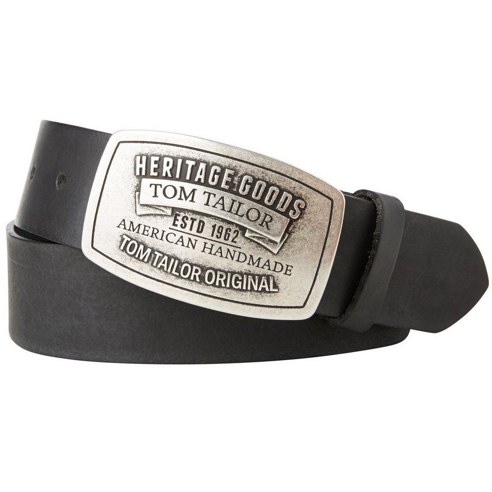 TOM TAILOR Gürtel »Gürtel mit auffälliger Schnalle« in black
