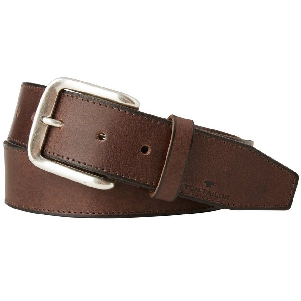 TOM TAILOR Gürtel »leather belt with stitching« in dk. brown
