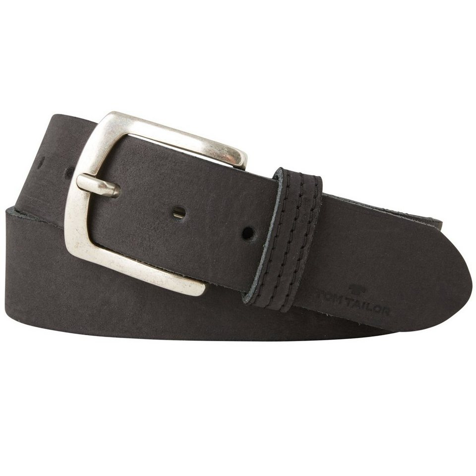 TOM TAILOR Gürtel »leather belt with stitching on loop« in black