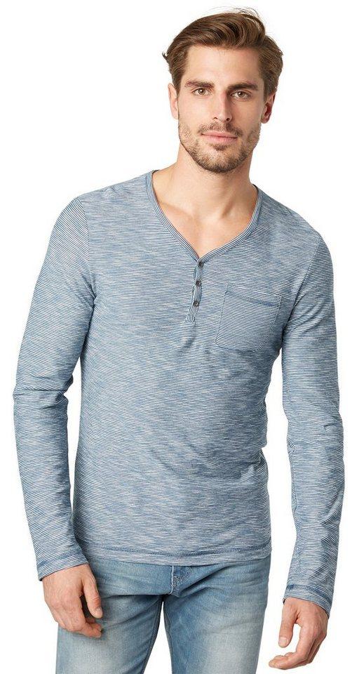 TOM TAILOR T-Shirt »gestreiftes Serafino-Shirt« in gasoline blue