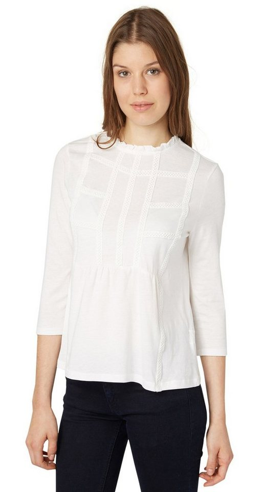 TOM TAILOR DENIM T-Shirt »blouse shirt with frills« in off white