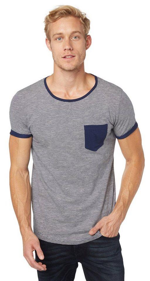 TOM TAILOR DENIM T-Shirt »T-Shirt mit feinen Streifen« in cosmos blue